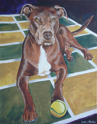 Pit With Ball On Rug Art Print by Laura Bolle