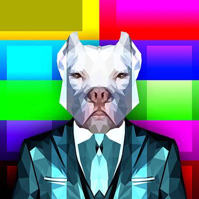 Dog Abstract Art Digital Art - Pitbull 2 by Gallini Design
