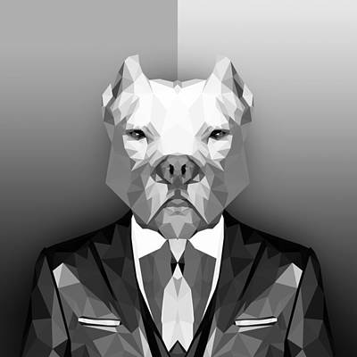 Dog Abstract Art Digital Art - Pitbull 3 by Gallini Design