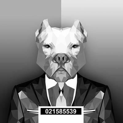 Dog Abstract Art Digital Art - Pitbull 4 by Gallini Design
