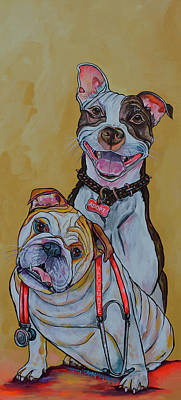 Pitbull And Bulldog Art Print by Patti Schermerhorn