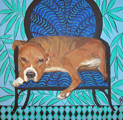 Pitbull At Rest Art Print