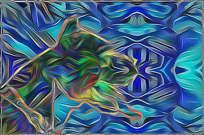 Digital Art - Pitbull Blues by Lisa Schwaberow