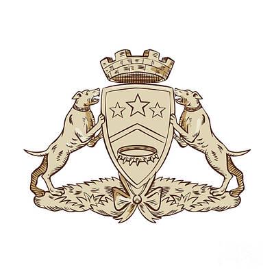 Pitbull Digital Art - Pitbull Dog Coat Of Arms Etching by Aloysius Patrimonio