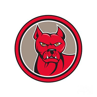 Bull Mastiff Digital Art - Pitbull Dog Mongrel Head Circle Cartoon by Aloysius Patrimonio