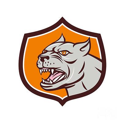 Bull Mastiff Digital Art - Pitbull Dog Mongrel Head Shield Cartoon by Aloysius Patrimonio