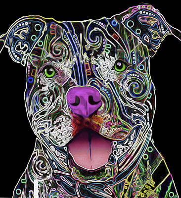 Mixed Media - Pitbull, Nixo, by Nicholas Nixo