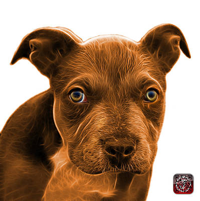 Painting - Pitbull Puppy Pop Art - 7085 Wb by James Ahn