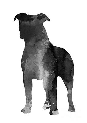 Giclee Mixed Media - Pitbull Silhouette Minimalist Painting by Joanna Szmerdt