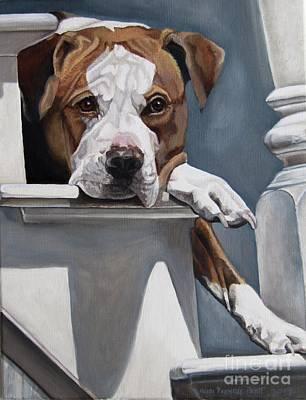 Painting - Pitbull Stare by Heidi Parmelee-Pratt