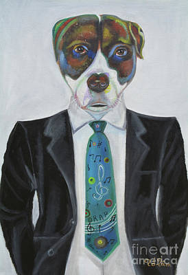 Pitbull With Rap Tie Art Print