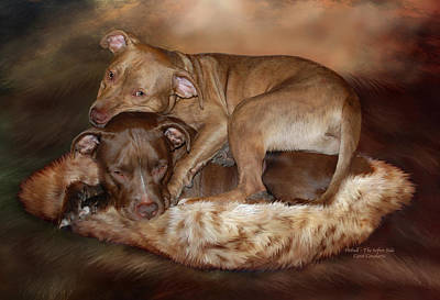 Pitbull Wall Art - Mixed Media - Pitbulls - The Softer Side by Carol Cavalaris