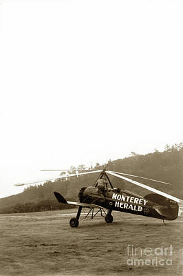 Photograph - Pitcairn  Autogiro Pca-2 Cn B-7 Nc10761  Monterey Herald Circa 1931 by California Views Archives Mr Pat Hathaway Archives