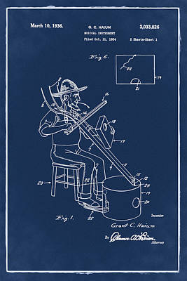 Pitch Forks Photograph - Pitch Fork Fiddle And Drum Patent 1936 - Blue by Bill Cannon