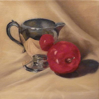 Silver Pitcher Painting - Pitcher And Apple by Liz Hume