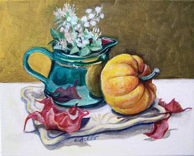 Painting - Pitcher And Pumpkin by Laura Aceto