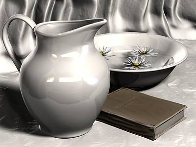 Ceramic Sinks Digital Art - Pitcher, Basin And Book by Nathan Ryan
