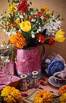Chrysanthemum Wall Art - Photograph - Pitcher Of Flowers Still Life by Garry Gay