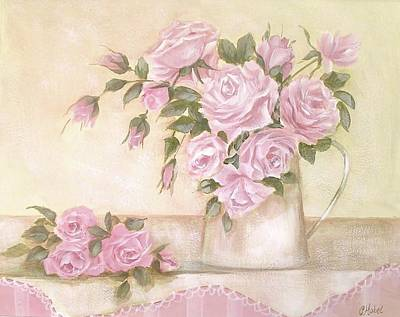 Pitcher Of  Pink Roses  Art Print by Chris Hobel