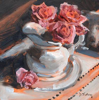 Painting - Pitcher Of Roses by Donna Tuten