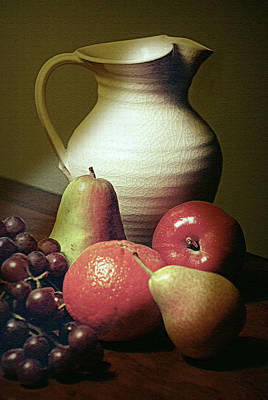 Pitcher With Fruit Art Print by Diana Angstadt