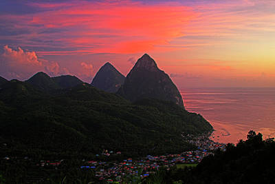 Pitons At Sunset- St Lucia Art Print