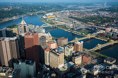 Pittsburgh Bridges And City Aerial View Art Print by Amy Cicconi