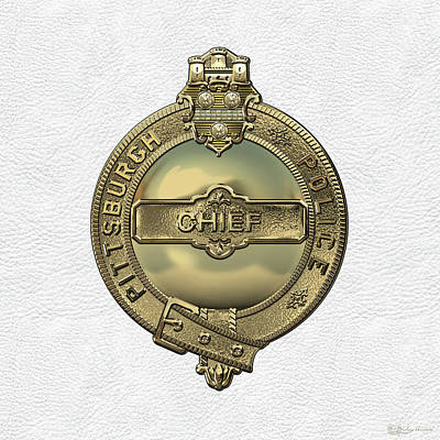 Pittsburgh Bureau Of Police -  P B P  Chief Badge Over White Leather  Art Print by Serge Averbukh