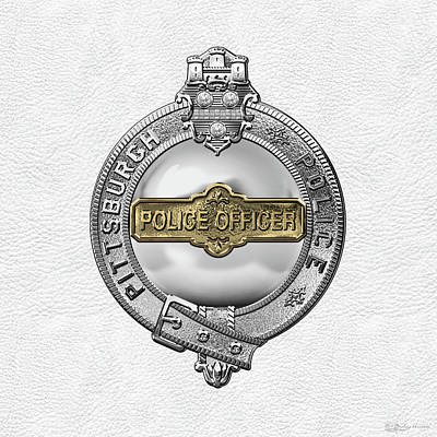 Police Officer Digital Art - Pittsburgh Bureau Of Police -  P B P  Police Officer Badge Over White Leather by Serge Averbukh