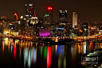 Pittsburgh Christmas At Night Art Print by Jay Nodianos
