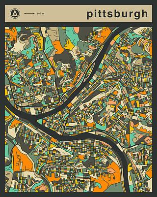 Pittsburgh City Map Art Print