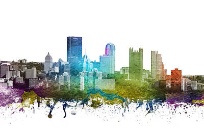 Pennsylvania Drawing - Pittsburgh Cityscape 01 by Aged Pixel