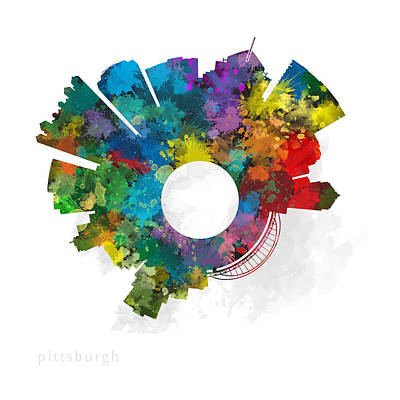 Pittsburgh Digital Art - Pittsburgh Small World Cityscape Skyline Abstract by Jurq Studio