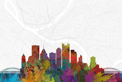 Pittsburgh Digital Art - Pittsburgh Cityscape And Streetmap Skyline by Jurq Studio