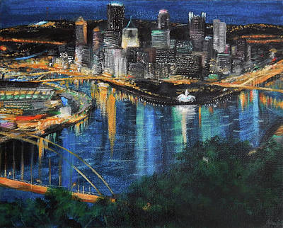 Heinz Painting - Pittsburgh Evening by Julia Cahill