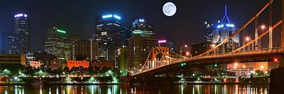 Pittsburgh Full Moon Panoramic Art Print by Frozen in Time Fine Art Photography