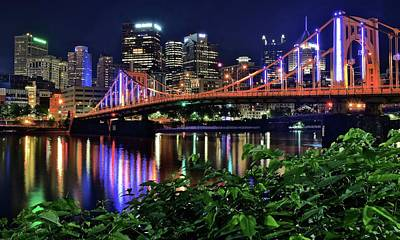 Photograph - Pittsburgh Lights Bridge And Foliage by Frozen in Time Fine Art Photography