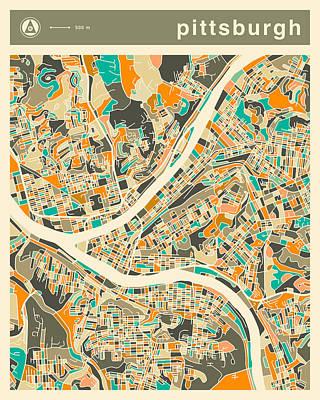 Pittsburgh Map 2 Art Print
