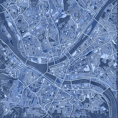 Painting - Pittsburgh Map Blue by Bekim Art