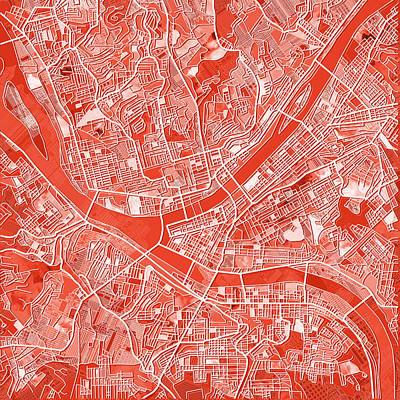 Painting - Pittsburgh Map Red by Bekim Art