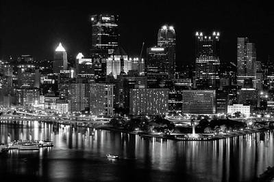 Photograph - Pittsburgh Nightscape Black And White by Michelle Joseph-Long