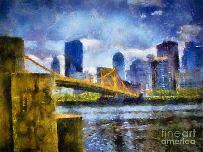 Pennsylvania Digital Art - Pittsburgh North Shore Skyline by Amy Cicconi
