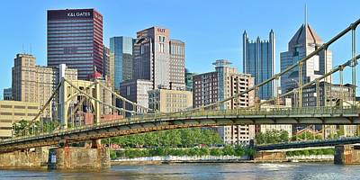 Pittsburgh Over The Bridge Art Print by Frozen in Time Fine Art Photography