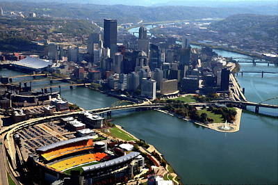 Pittsburgh, Pa - Heinz Field Digital Painting Aerial Art Print by Mattucci Photography