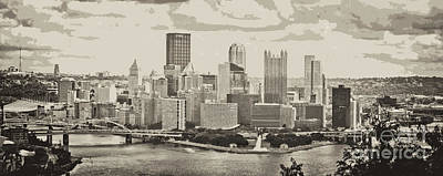 Pittsburgh Pano Bw Cutout Art Print by Pittsburgh Photo Company