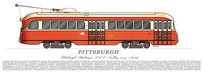 Pittsburgh Pcc Trolley Circa 1936 Art Print