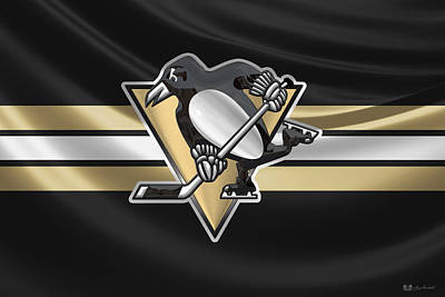 Digital Art - Pittsburgh Penguins - 3 D Badge Over Silk Flag by Serge Averbukh