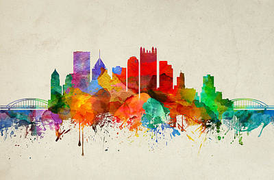 Pittsburgh Skyline Painting - Pittsburgh Pennsylvania Skyline 22 by Aged Pixel