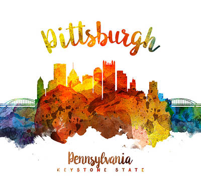 Pittsburgh Skyline Painting - Pittsburgh Pennsylvania Skyline 26 by Aged Pixel