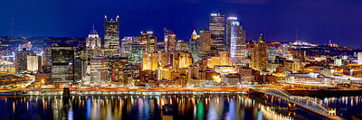 River Photograph - Pittsburgh Pennsylvania Skyline At Night Panorama by Jon Holiday